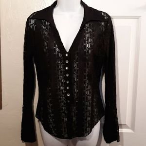 New York and Company Black Lace Top